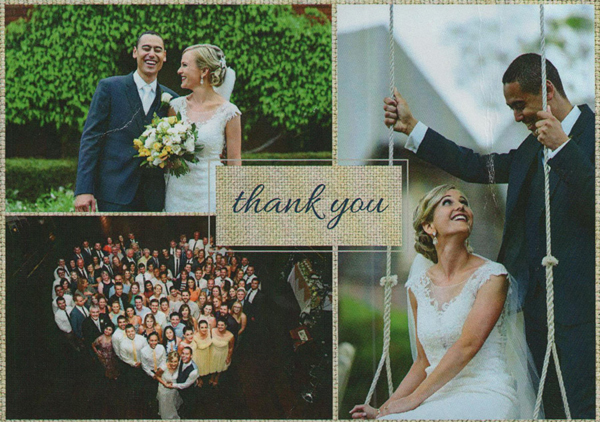 thank you card for roll up in style wedding cars
