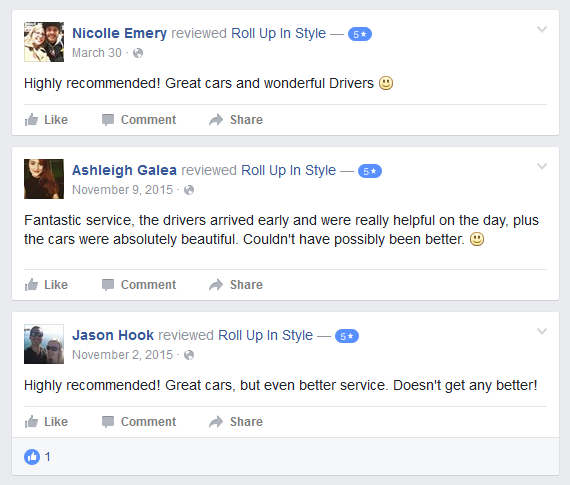 great facebook reviews for roll up in style wedding cars