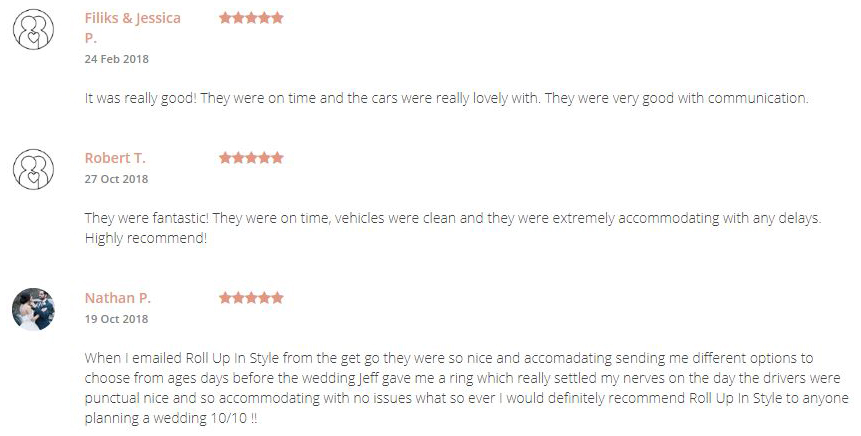 reviews for roll up in style left on easyweddings